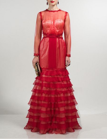 Aftershock Tapasi red flamenco inspired maxi dress