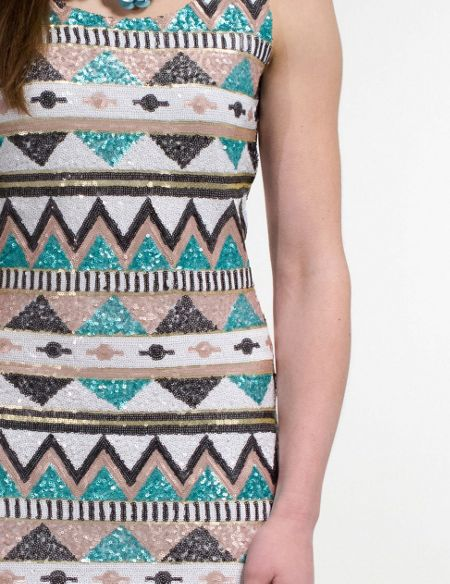 Aftershock Tawnya embellished aztec print dress