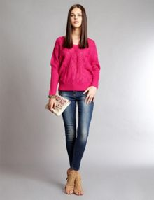 Patti fuchsia cable knit jumper