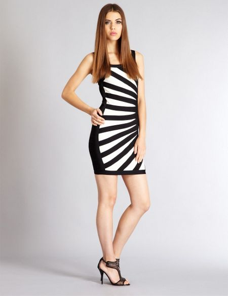 Aftershock Talar black and white bodycon dress