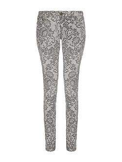 Lace Print Skinny Stretch Fit Jeans