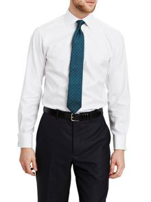 Thomas Pink Jude Texture Slim Fit Double Cuff Shirt