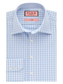 Dobson check button cuff shirt