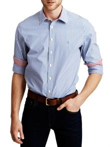 Fradelle stripe button cuff shirt