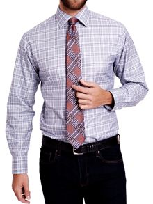 Harding check button cuff shirt