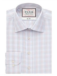 Jones check button cuff shirt