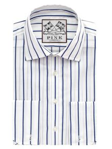 Alford Stripe Slim Fit Double Cuff Shirt