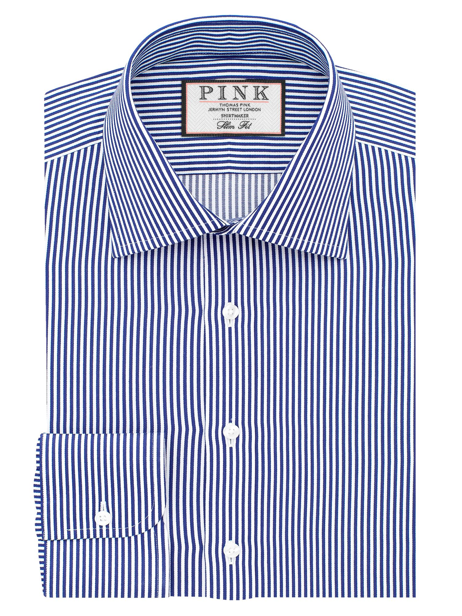 Mens Thomas Pink Grant Stripe Slim Fit Double Cuff Shirt Navy