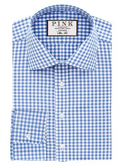 Summers check slim fit button cuff shirt