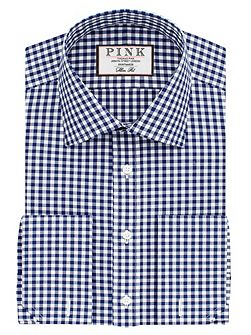 Summers check slim double cuff shirt