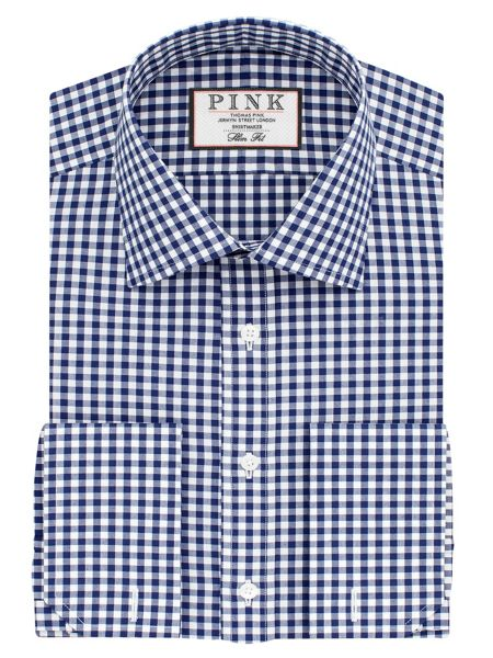 Thomas Pink Summers check slim double cuff shirt