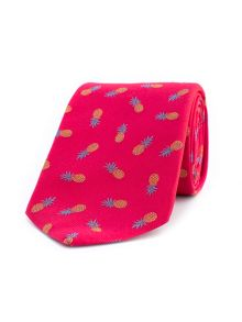 Thomas Pink Tropical Pineapple Woven Tie