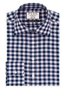 Thomas Pink Porter Check Slim Fit Button Cuff Shirt