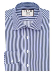 Thomas Pink Grant Stripe Slim Fit Button Cuff Shirt