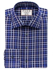 Thomas Pink Meyers Check Slim Fit Button Cuff Shirt