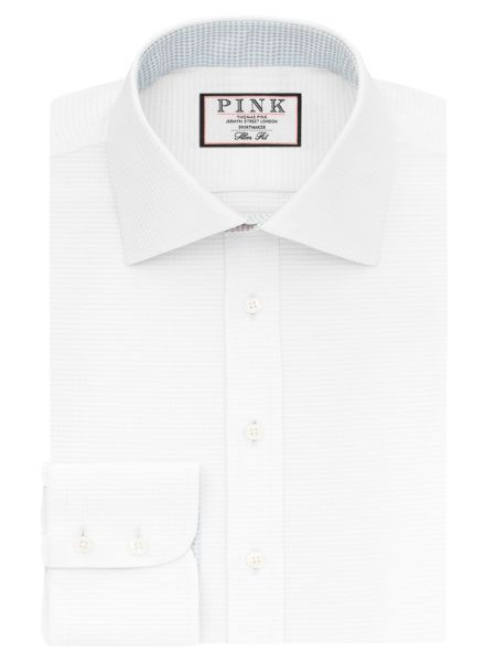 Thomas Pink Zetland Plain Slim Fit Button Cuff Shirt