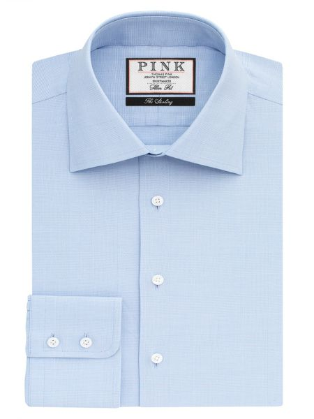 Thomas Pink Anders Check Slim Fit Button Cuff Shirt