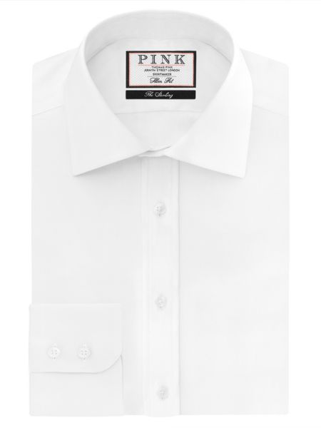 Thomas Pink Arthur Plain Slim Fit Button Cuff Shirt