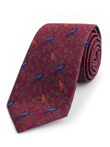 Thomas Pink Bird On Branch Woven Tie
