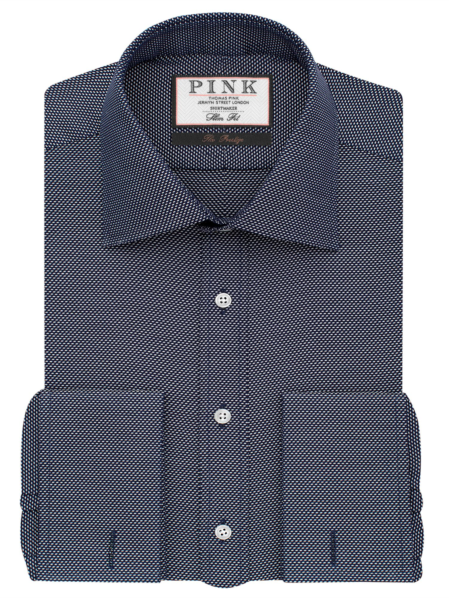 Mens Thomas Pink Joseph Texture Slim Fit Double Cuff Shirt Navy