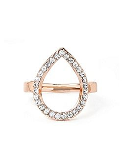Rose Gold Water Drop Crystal Ring