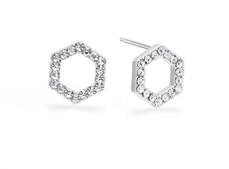 Kaytie Wu Silver Hexagon Crystal Earrings