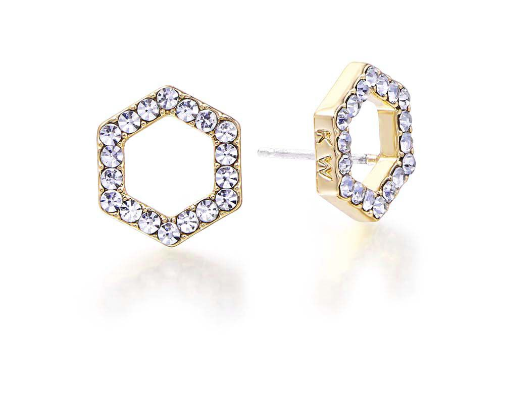 Kaytie Wu Gold Hexagon Crystal Earrings, N/A