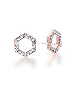 Rose Gold Hexagon Crystal Earrings