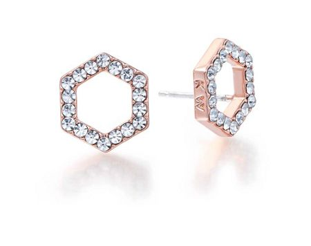 Kaytie Wu Rose Gold Hexagon Crystal Earrings