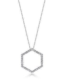 Silver Hexagon Crystal Pendant