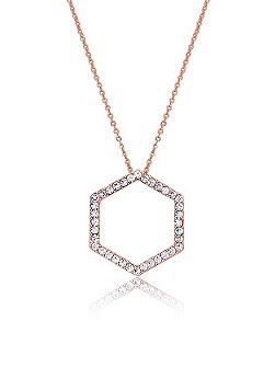 Rose Gold Hexagon Crystal Pendant