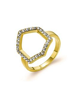Gold Hexagon Crystal Ring