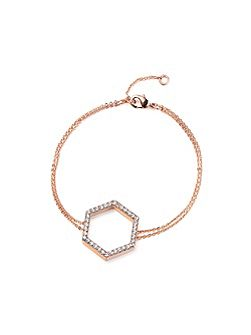 Rose Gold Hexagon Crystal Bracelet