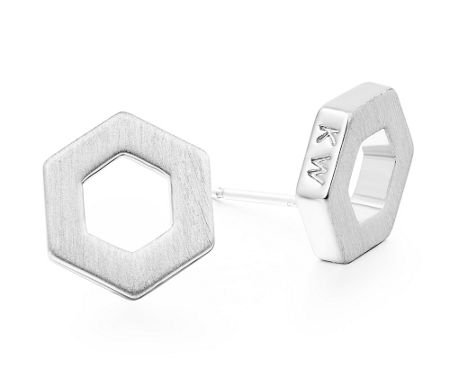 Kaytie Wu Silver Hexagon Earrings