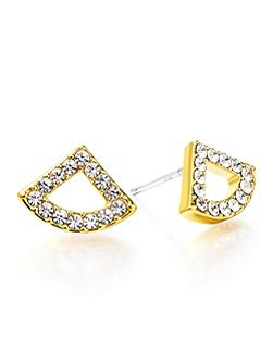Gold Crystal Fan Earrings