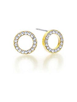 Gold Crystal Circle Earrings