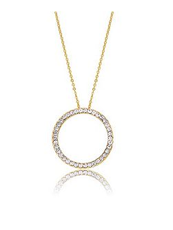 Gold Crystal Circle Pendant
