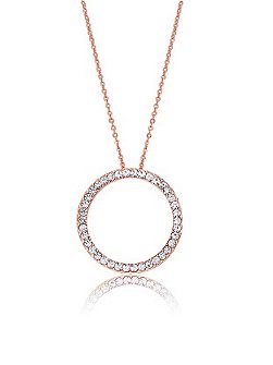 Rose Gold Crystal Circle Pendant