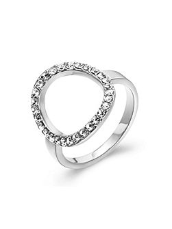 Silver Crystal Circle Ring