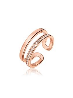 Rose Gold Crystal Line Ring