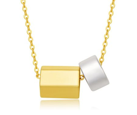 Kaytie Wu Matt Gold and Matt Silver Tube Necklace