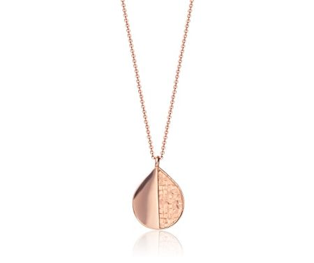 Kaytie Wu Rose Gold Weave Look Water Drop Pendant