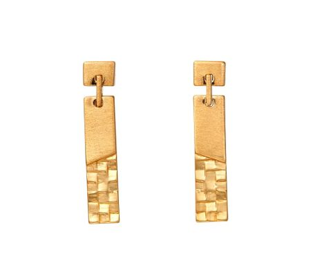 Kaytie Wu Gold Weave Look Line Earrings