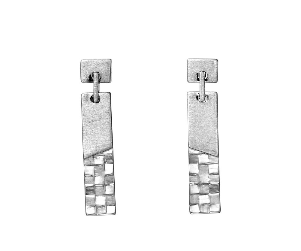 Kaytie Wu Silver Weave Look Line Earrings, N/A