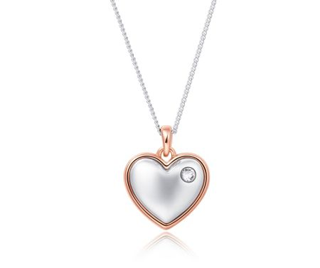 Kaytie Wu Two Tone Heart Pendant with Crystal