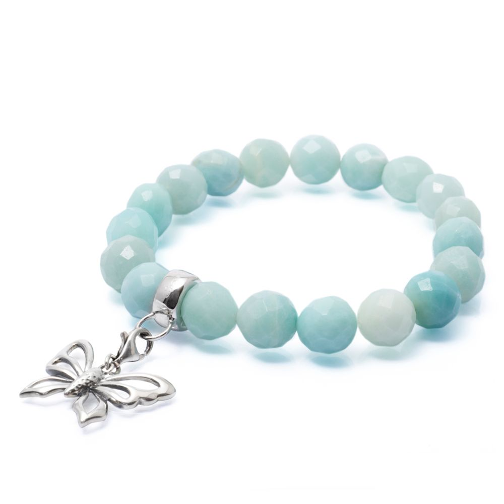 Faceted amazonite charm bracelet