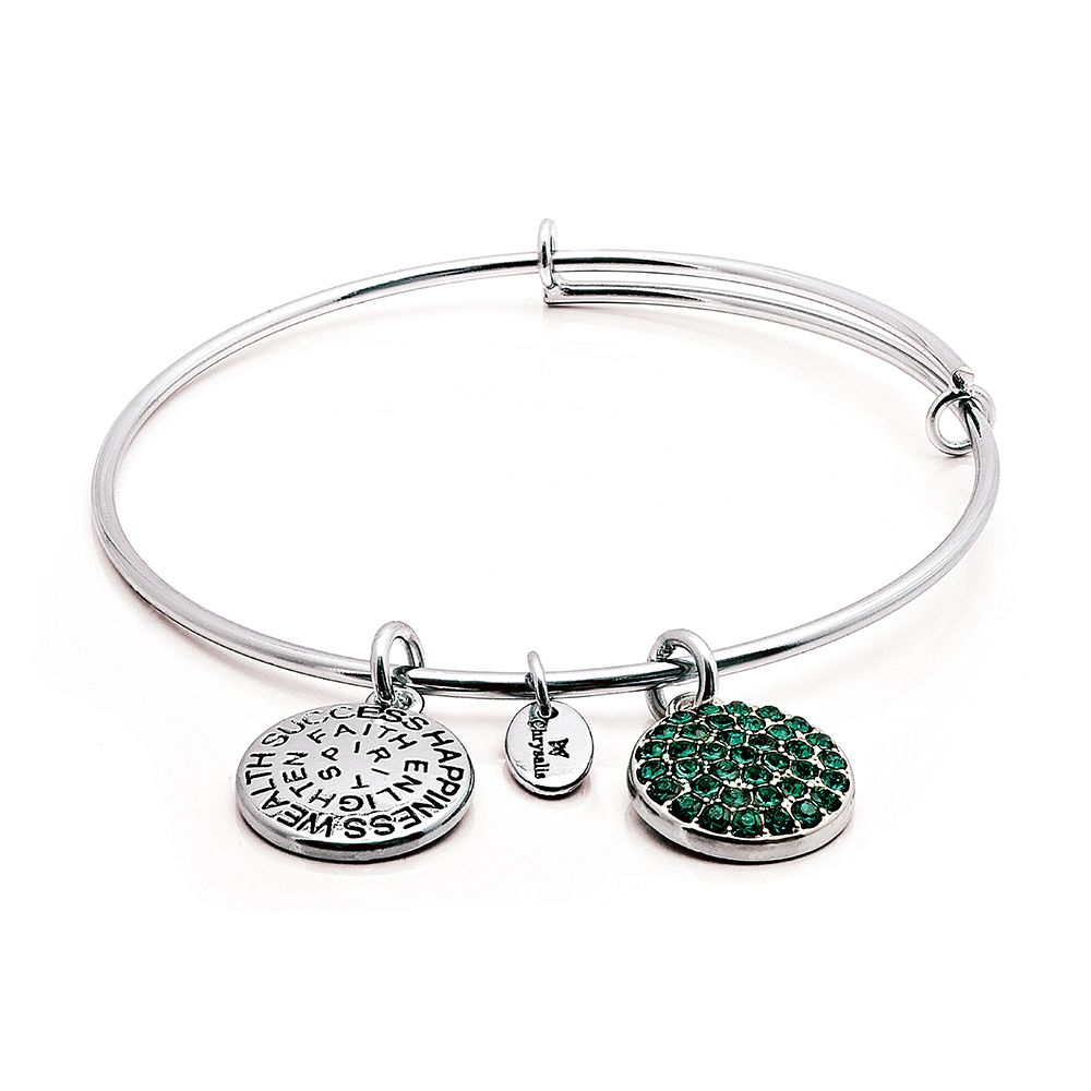 Good fortune emerald crystal bangle