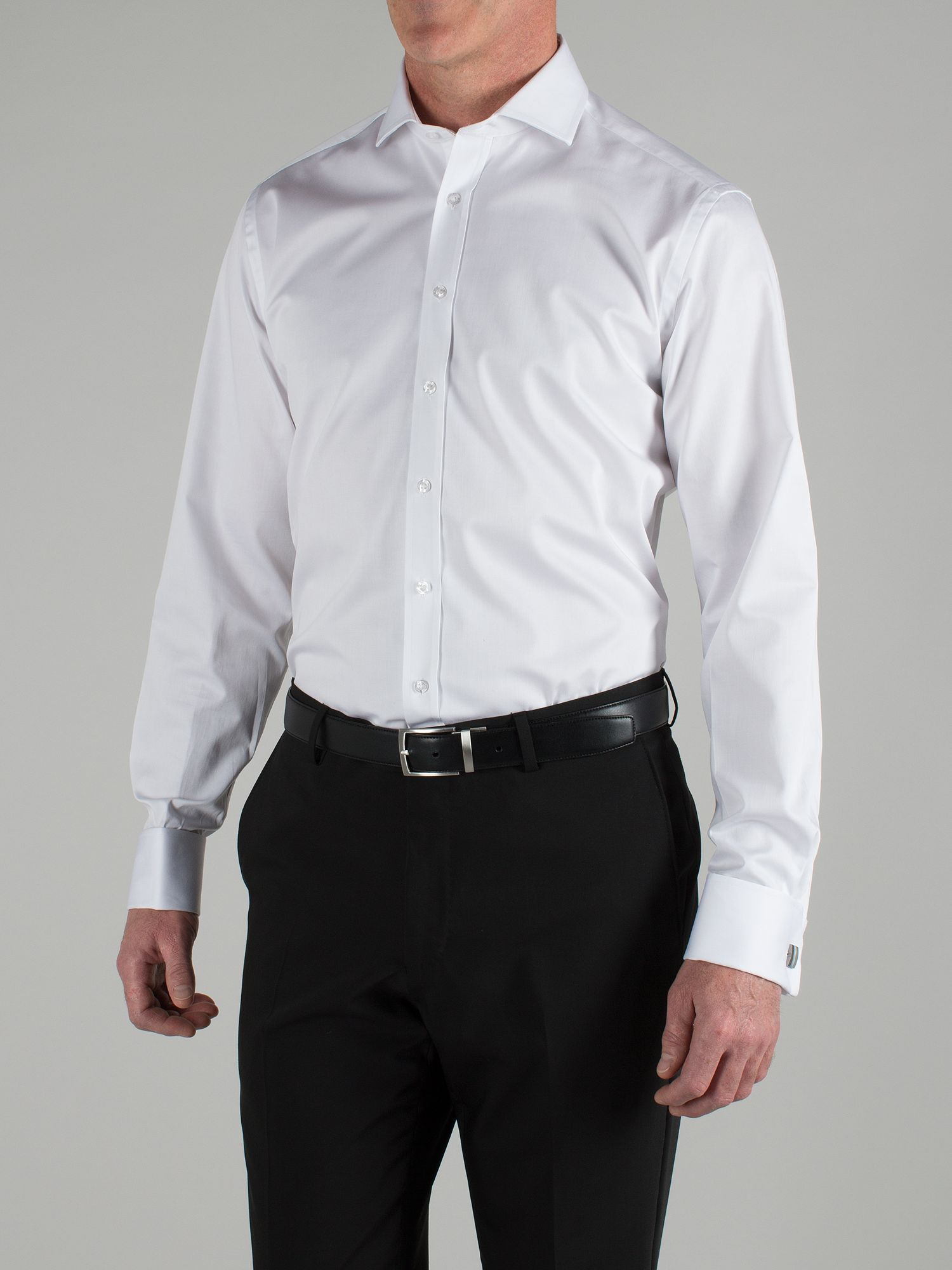 White sateen tailored shirt