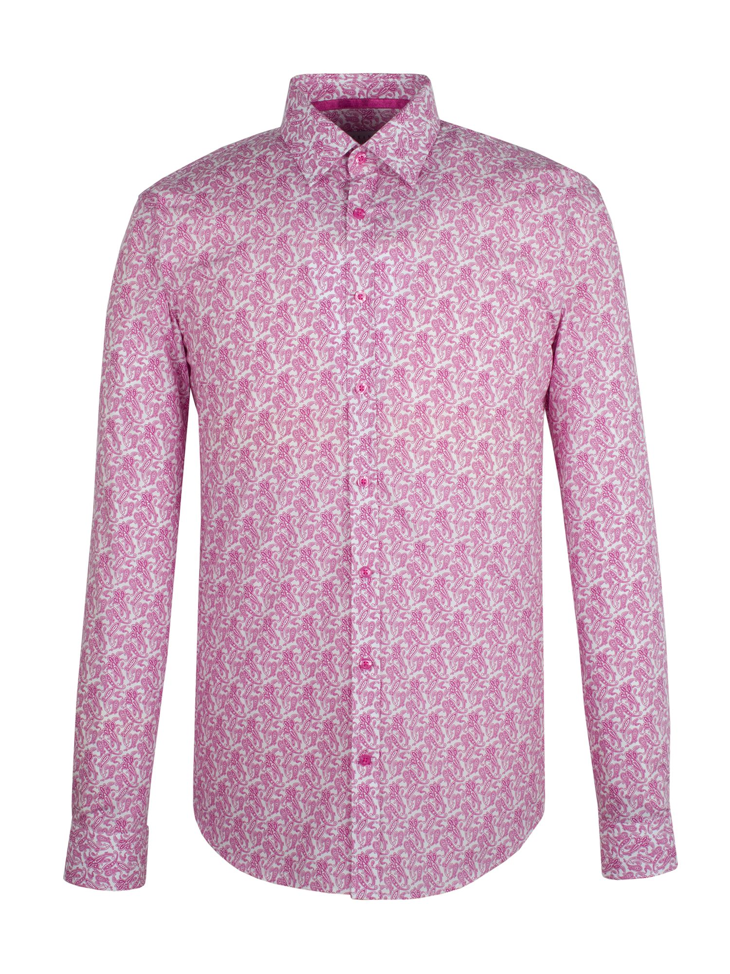 Men's Alexandre Savile Row Pink organic paisley slim fit shirt, Pink