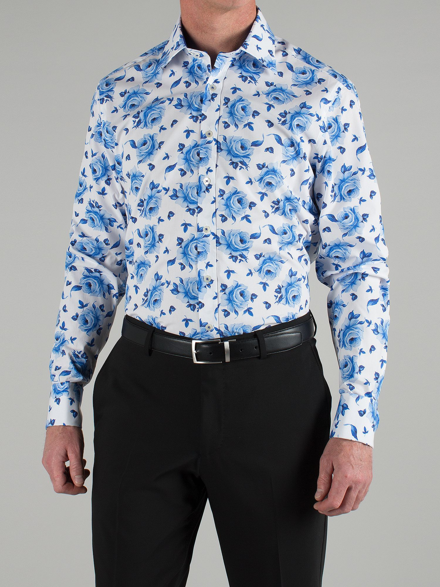 Blue large rose tailored shirt